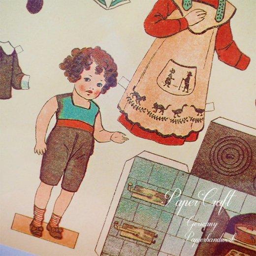 ドイツ直輸入! 【大判】ペーパードール 着せ替え ヴィンテージ復刻 (少年 少女 食器 キッチンツール)【画像6】