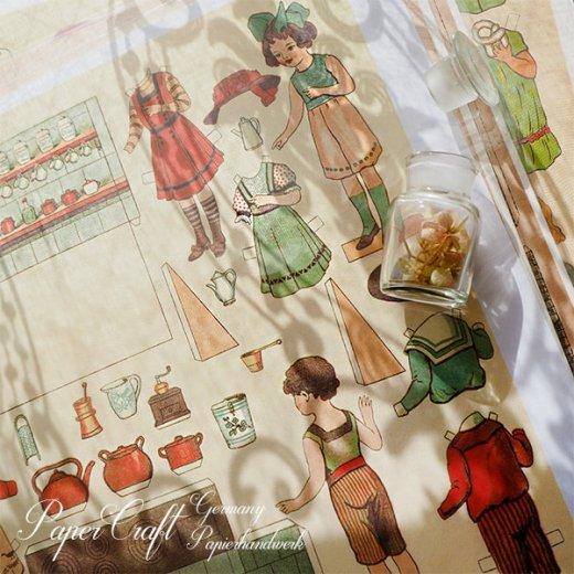 ドイツ直輸入! 【大判】ペーパードール 着せ替え ヴィンテージ復刻 (少年 少女 食器 キッチンツール)【画像8】