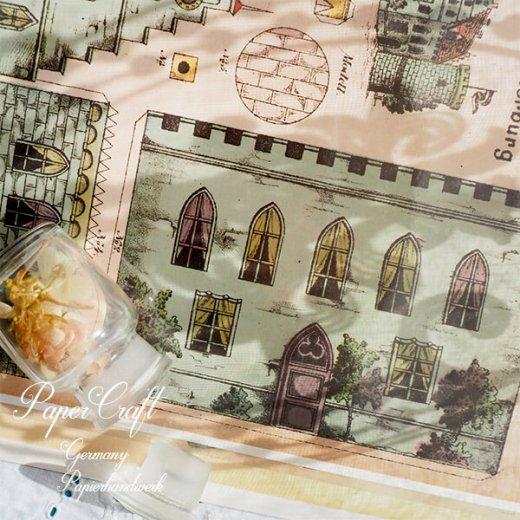 ドイツ直輸入! 【大判】ペーパークラフト 建物 ヴィンテージ復刻 (お城 中世 紋章 パステルカラー card model)【画像4】