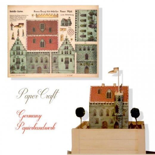 ドイツ直輸入! 【大判】ペーパークラフト 建物 ヴィンテージ復刻 (お城 中世 紋章 パステルカラー card model)【画像9】