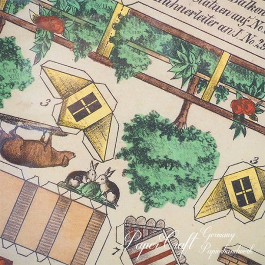 ドイツ直輸入! お得な2枚組*【大判】ペーパークラフト 建物 ヴィンテージ復刻 (バラのファーム 中世 農場 小鳥 うさぎ 馬 card model)【画像4】