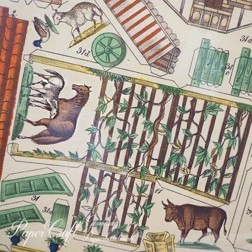 ドイツ直輸入! お得な2枚組*【大判】ペーパークラフト 建物 ヴィンテージ復刻 (バラのファーム 中世 農場 小鳥 うさぎ 馬 card model)【画像6】