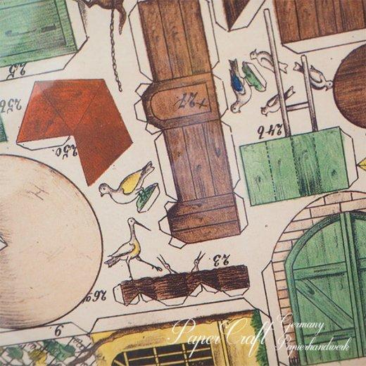ドイツ直輸入! お得な2枚組*【大判】ペーパークラフト 建物 ヴィンテージ復刻 (バラのファーム 中世 農場 小鳥 うさぎ 馬 card model)【画像9】