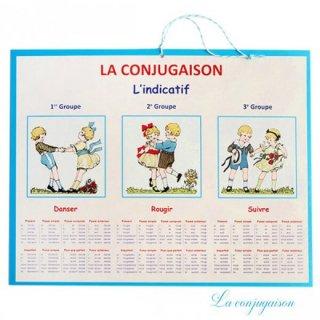 【アウトレット販売 角折れ 】フランス製 LA CONJUGAISON 動詞活用 フランス語勉強表