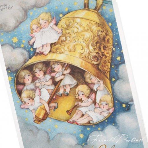 フランス クリスマスポストカード  (Cloche de Noël クリスマス・ベル 天使 賛美歌)【画像2】