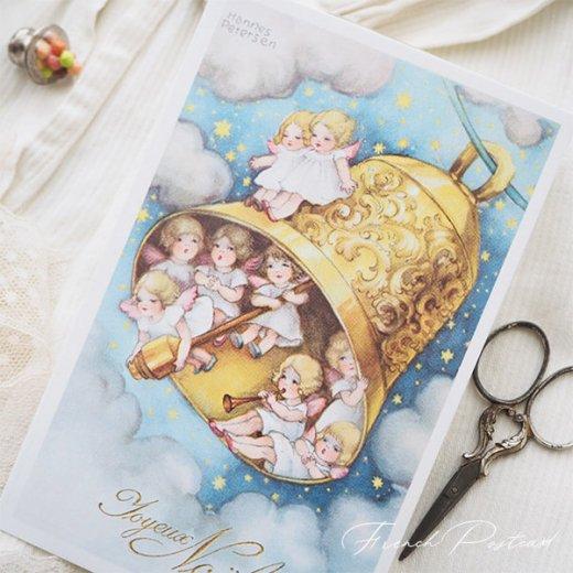 フランス クリスマスポストカード  (Cloche de Noël クリスマス・ベル 天使 賛美歌)【画像3】