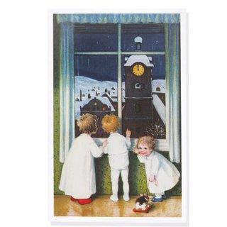 フランス クリスマスポストカード  (Paysage de fenêtre  窓をのぞく幼子)