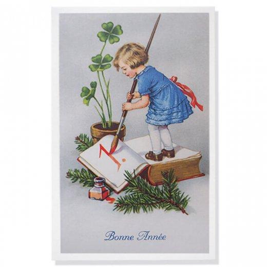 フランス クリスマスポストカード 年賀状  (Bonne Annee  幼子 幸せのクローバー 元旦)