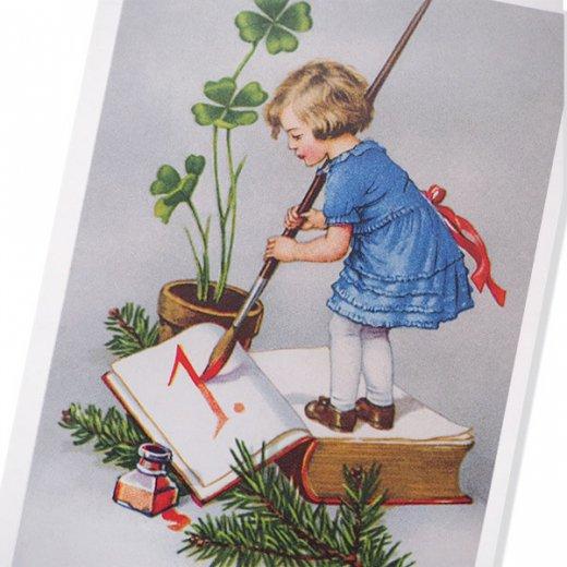 フランス クリスマスポストカード 年賀状  (Bonne Annee  幼子 幸せのクローバー 元旦)【画像2】