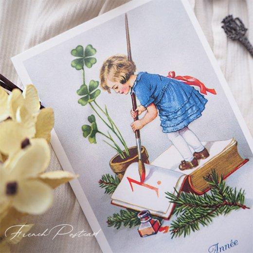 フランス クリスマスポストカード 年賀状  (Bonne Annee  幼子 幸せのクローバー 元旦)【画像3】