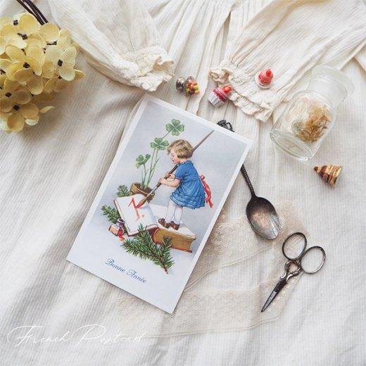 フランス クリスマスポストカード 年賀状  (Bonne Annee  幼子 幸せのクローバー 元旦)【画像4】