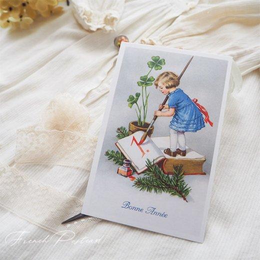 フランス クリスマスポストカード 年賀状  (Bonne Annee  幼子 幸せのクローバー 元旦)【画像5】