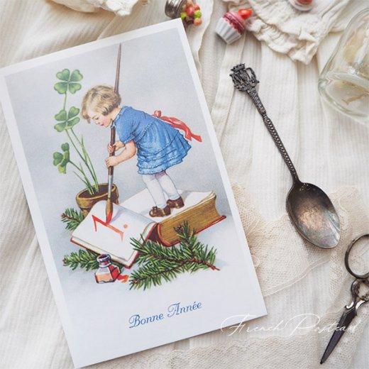 フランス クリスマスポストカード 年賀状  (Bonne Annee  幼子 幸せのクローバー 元旦)【画像6】