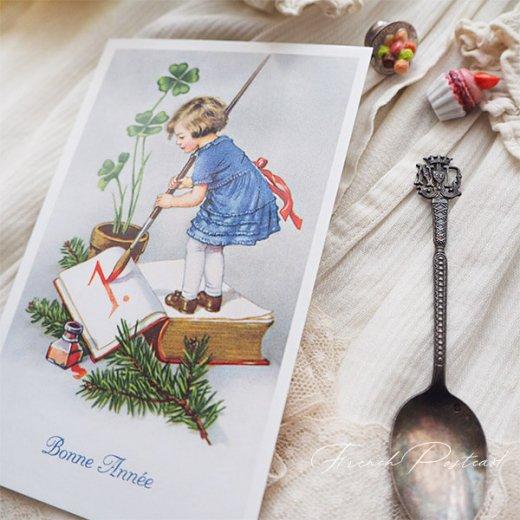 フランス クリスマスポストカード 年賀状  (Bonne Annee  幼子 幸せのクローバー 元旦)【画像7】