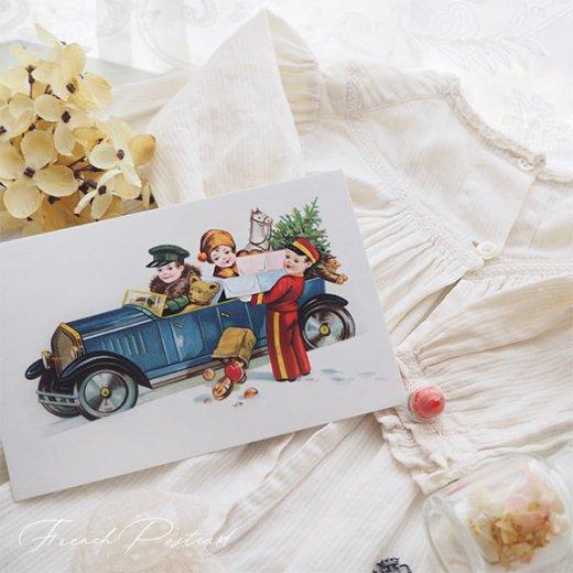 フランス クリスマスポストカード  (cadeau de Noëlクリスマスプレゼント ベア)【画像4】