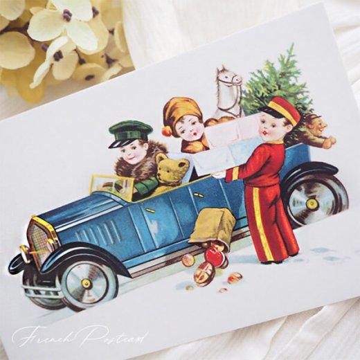 フランス クリスマスポストカード  (cadeau de Noëlクリスマスプレゼント ベア)【画像7】