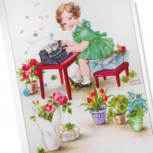 フランス ポストカード  ( Joyeux Anniversaire お誕生日おめでとう 少女 バラ)【画像2】