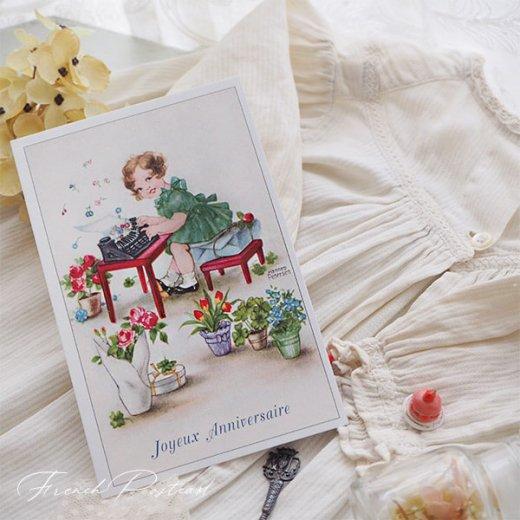 フランス ポストカード  ( Joyeux Anniversaire お誕生日おめでとう 少女 バラ)【画像3】