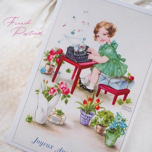 フランス ポストカード  ( Joyeux Anniversaire お誕生日おめでとう 少女 バラ)【画像4】