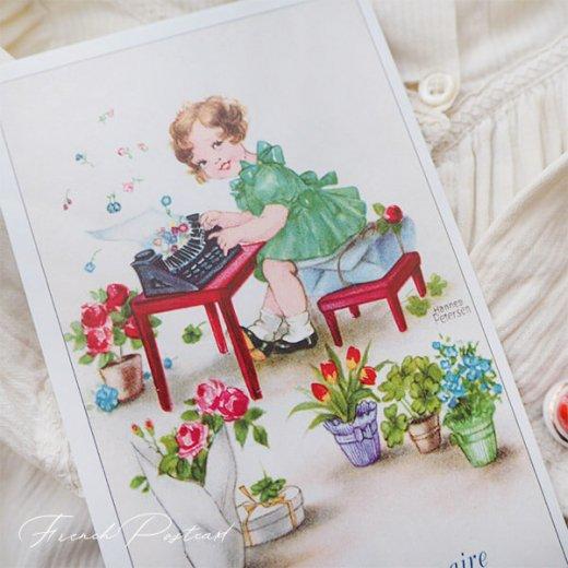 フランス ポストカード  ( Joyeux Anniversaire お誕生日おめでとう 少女 バラ)【画像5】