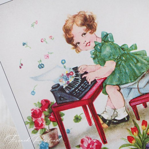 フランス ポストカード  ( Joyeux Anniversaire お誕生日おめでとう 少女 バラ)【画像6】