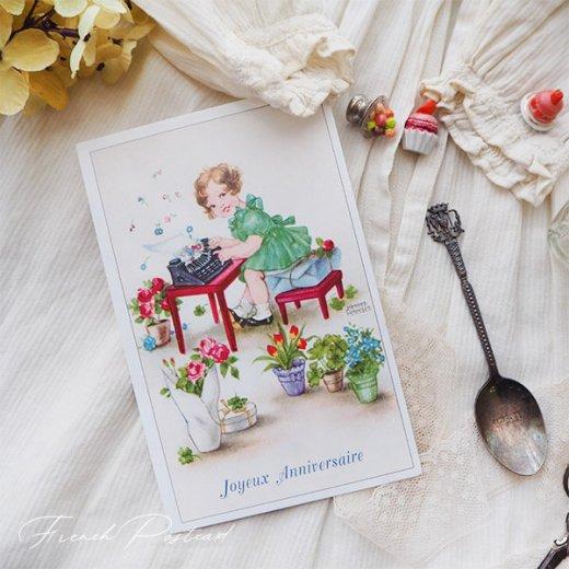 フランス ポストカード  ( Joyeux Anniversaire お誕生日おめでとう 少女 バラ)【画像7】