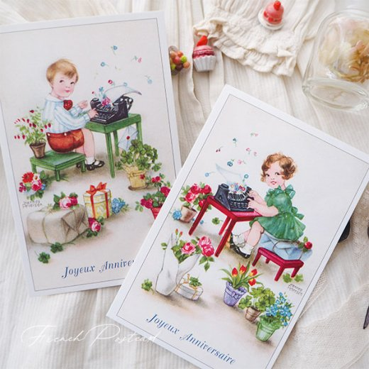 フランス ポストカード  ( Joyeux Anniversaire お誕生日おめでとう 少女 バラ)【画像8】