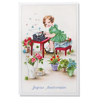 フランス ポストカード  ( Joyeux Anniversaire お誕生日おめでとう 少女 バラ)