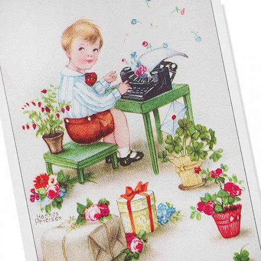 フランス ポストカード  ( Joyeux Anniversaire お誕生日おめでとう 少年 バラ)【画像2】