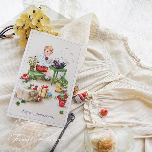 フランス ポストカード  ( Joyeux Anniversaire お誕生日おめでとう 少年 バラ)【画像3】
