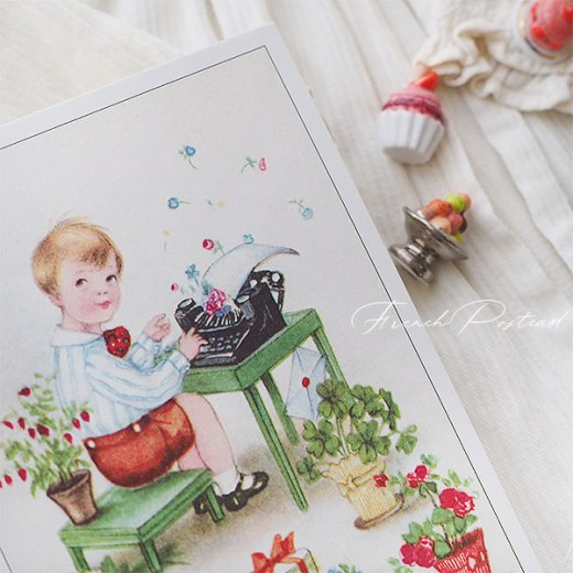 フランス ポストカード  ( Joyeux Anniversaire お誕生日おめでとう 少年 バラ)【画像5】