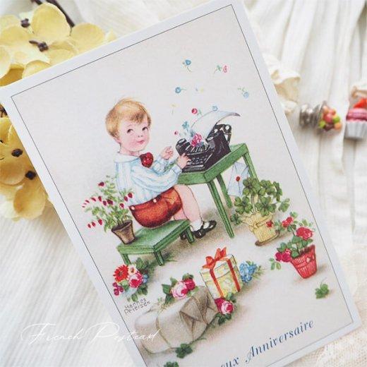 フランス ポストカード  ( Joyeux Anniversaire お誕生日おめでとう 少年 バラ)【画像7】