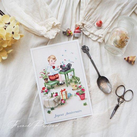 フランス ポストカード  ( Joyeux Anniversaire お誕生日おめでとう 少年 バラ)【画像8】