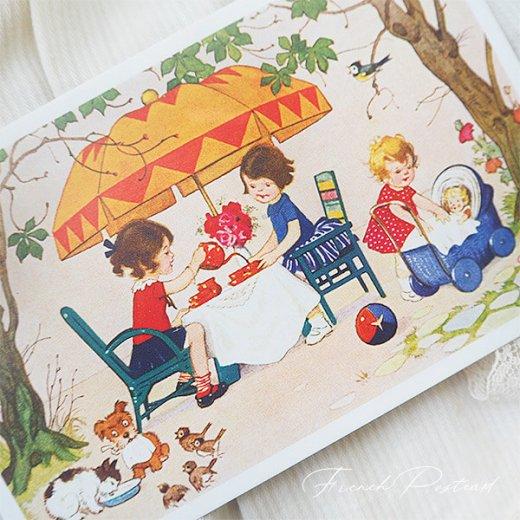 フランス ポストカード  (Jouez avec le jeu おままごと遊び 幼子 猫 犬  バラ 小鳥)【画像2】