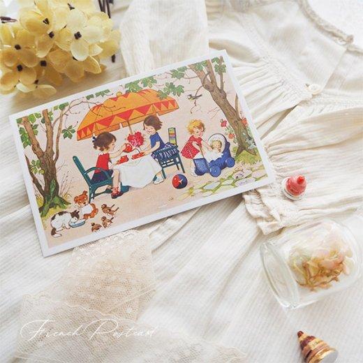 フランス ポストカード  (Jouez avec le jeu おままごと遊び 幼子 猫 犬  バラ 小鳥)【画像3】
