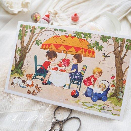 フランス ポストカード  (Jouez avec le jeu おままごと遊び 幼子 猫 犬  バラ 小鳥)【画像4】