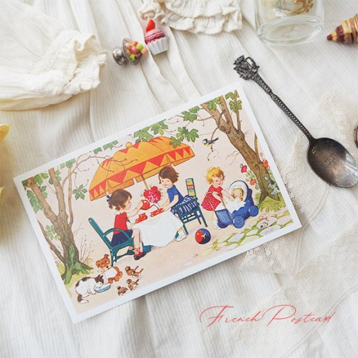 フランス ポストカード  (Jouez avec le jeu おままごと遊び 幼子 猫 犬  バラ 小鳥)【画像5】