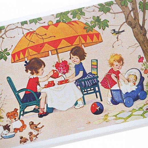 フランス ポストカード  (Jouez avec le jeu おままごと遊び 幼子 猫 犬  バラ 小鳥)【画像7】
