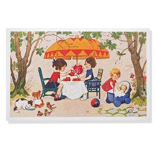 フランス ポストカード  (Jouez avec le jeu おままごと遊び 幼子 猫 犬  バラ 小鳥)