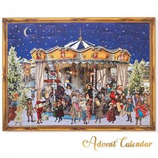クリスマスアドベントカレンダー ドイツ クリスマス アドベントカレンダー【L】<メリーゴーラウンド サンタクロース  プレゼント クリスマスツリー>