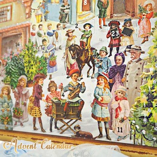 ドイツ クリスマス アドベントカレンダー【L】<カラフルなお家 幼子 犬 うさぎ バラ クリスマスツリー>【画像2】