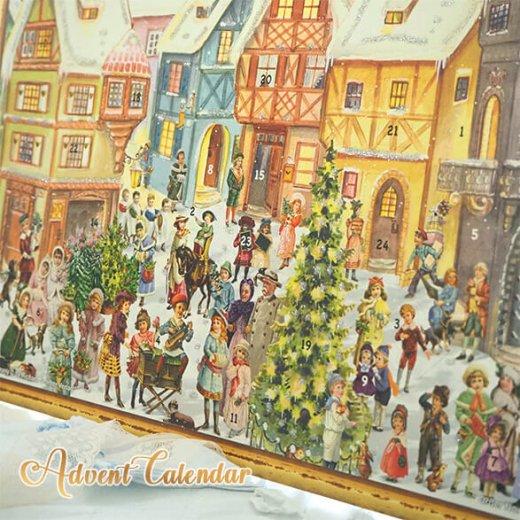 ドイツ クリスマス アドベントカレンダー【L】<カラフルなお家 幼子 犬 うさぎ バラ クリスマスツリー>【画像3】