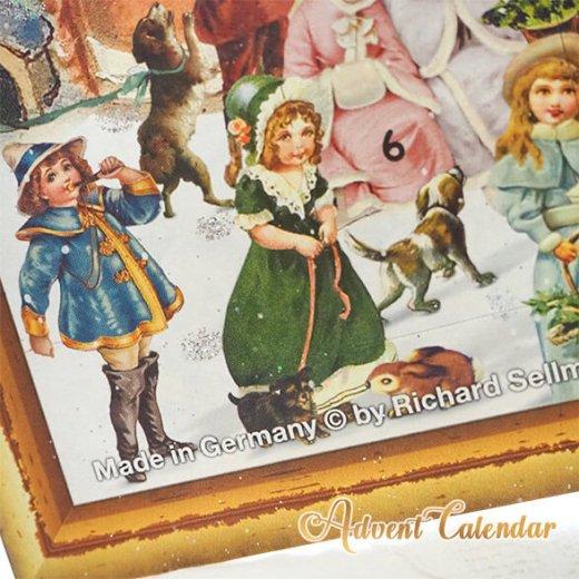 ドイツ クリスマス アドベントカレンダー【L】<カラフルなお家 幼子 犬 うさぎ バラ クリスマスツリー>【画像4】