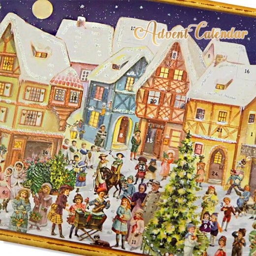 ドイツ クリスマス アドベントカレンダー【L】<カラフルなお家 幼子 犬 うさぎ バラ クリスマスツリー>【画像5】