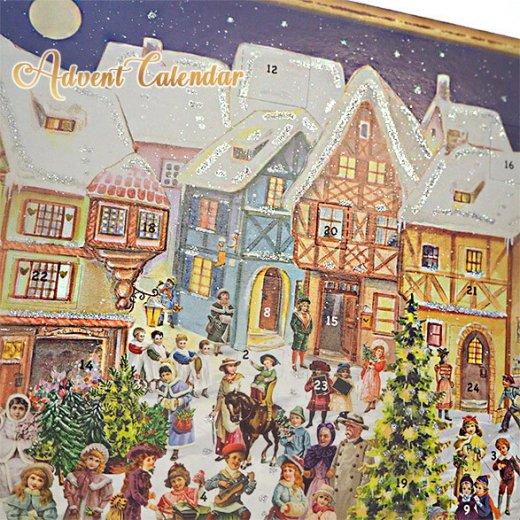 ドイツ クリスマス アドベントカレンダー【L】<カラフルなお家 幼子 犬 うさぎ バラ クリスマスツリー>【画像7】