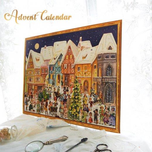 ドイツ クリスマス アドベントカレンダー【L】<カラフルなお家 幼子 犬 うさぎ バラ クリスマスツリー>【画像9】