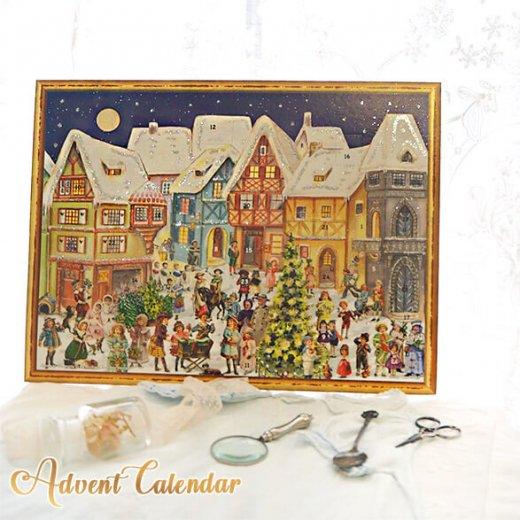 ドイツ クリスマス アドベントカレンダー【L】<カラフルなお家 幼子 犬 うさぎ バラ クリスマスツリー>【画像10】