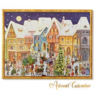 ドイツ クリスマス アドベントカレンダー【L】<カラフルなお家 幼子 犬 うさぎ バラ クリスマスツリー>