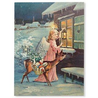 ドイツ直輸入! 【大判】クリスマス ポストカード エンボス加工 復刻 (天使 子鹿 クリスマスツリー おもちゃ)