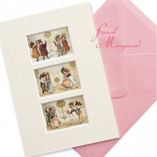 フランス ポストカード マウントボード仕様  封筒セット(中世 バラの小路)